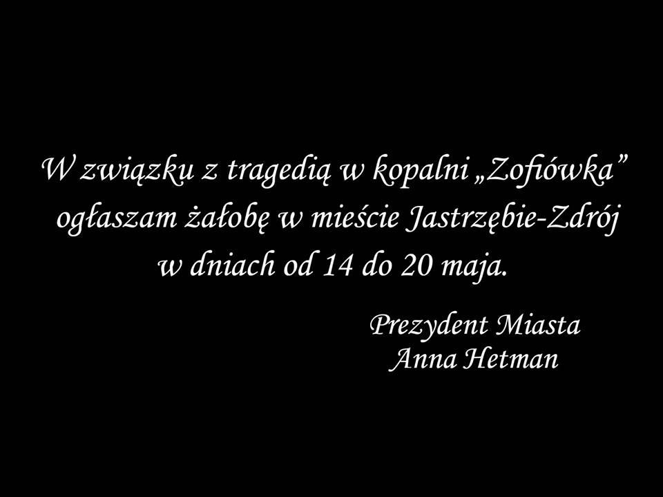 Ogłaszam żałobę w Jastrzębiu-Zdroju